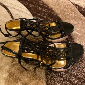 Coach Shoes - Sexy Black Strappy COACH Patent Leather Sandals